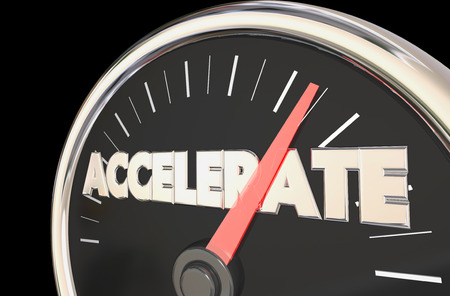 pacing: Accelerate Reach Top Level Speedometer 3d Illustration Stock Photo