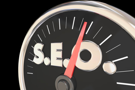 better performance: SEO Search Engine Optimization Speedometer Level Rate 3d Illustration