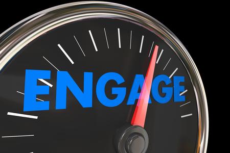 Engagement Snelheidsmeter verhogen Verbeter Interactie 3d Illustratie