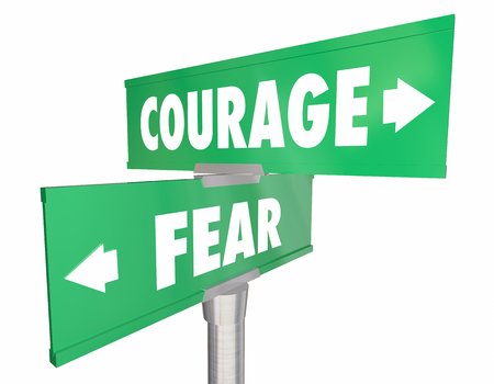 2 way: Courage Vs Fear 2 Two Way Street Road Signs 3d Illustration