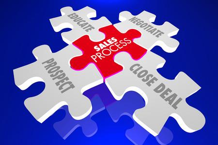 close fitting: Sales Process Selling Technique Puzzle Pieces 3d Illustration