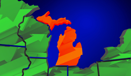 going green: Michigan Map United States America Growth Increase Improve 3d Illustration