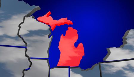 turismo ecologico: Mapa de Michigan MI nubes EE.UU. Estados Unidos de América Previsión del tiempo Ilustración 3d