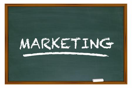 defined: Marketing Education Basics Principles Chalk Board Word 3d Illustration Stock Photo