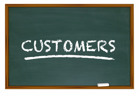 defining: Customers Clients New Prospects Chalk Board Word 3d Illustration