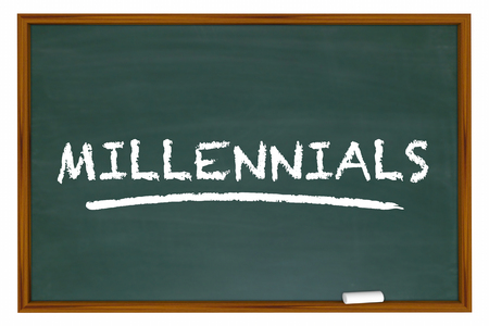 defining: Millennials Generation Y Demo Group Chalk Board Word 3d Illustration Stock Photo