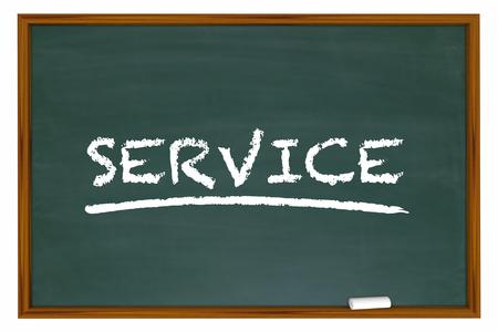 defined: Service Customer Satisfaction Word Chalk Board 3d Illustration