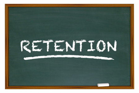 educated: Retention Chalk Board Word Retain Customers Employees 3d Illustration