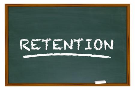 returning: Retention Chalk Board Word Retain Customers Employees 3d Illustration