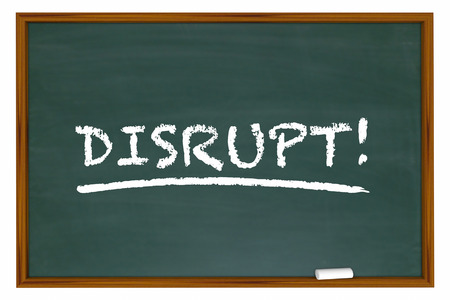 disruption: Disrupt Change Rethink Word Disruption Chalk Board 3d Illustration