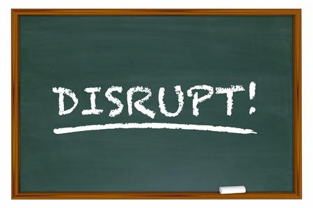 Disrupt Change Rethink Word Disruption Chalk Board 3d Illustration