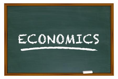 budgeting: Economics Chalk Board Economy Budgeting Finance Word 3d Illustration