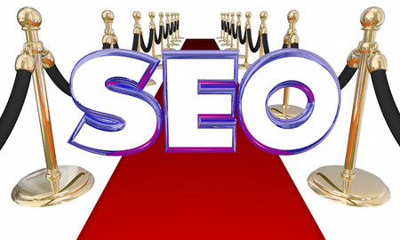 abbreviated: SEO Search Engine Optimization Red Carpet 3d Illustration