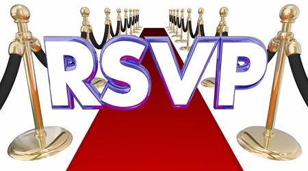 acronym: RSVP Reserve Reservation Word Acronym Red Carpet Event 3d Illustration