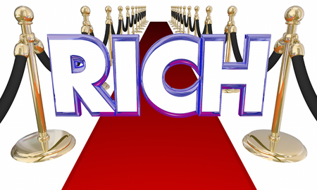 Rich Word Wealthy Money Red Carpet Special Treatment 3d Illustration Stock Photo