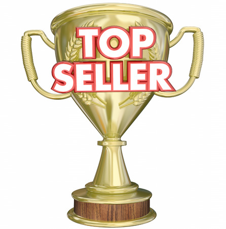 Top Seller Best Selling Product Trophy Prize 3d Illustration Stock Photo