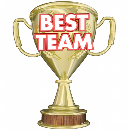 honoring: Best Team Trophy Award Prize Recognition 3d Illustration Stock Photo