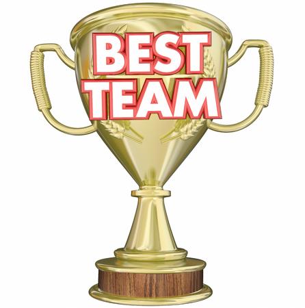 Best Team Trophy Award Prize Recognition 3d Illustration Stock Photo