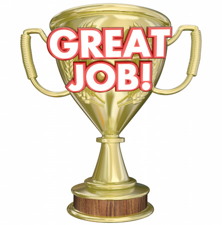 recognizing: Great Job Performance Recognition Trophy 3d Illustration Stock Photo