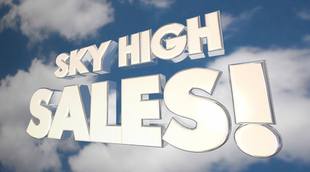 hopeful: Sky High Sales Clouds Big Selling Products Deals 3d Illustration