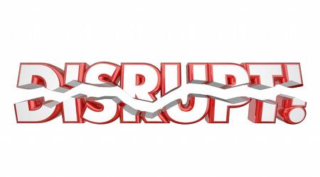 breaking: Disrupt Word Breaking Rethink Reinvent 3d Illustration