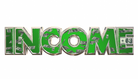 compensated: Income Money Earning Pay Cash Word 3d Illustration Stock Photo