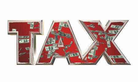 Tax Word Money Falling Fees Income 3d Illustration Stock Photo