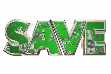 bargain: Save Word Money Falling Discount Bargain Deal 3d Illustration