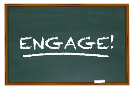 interactivity: Engage Word Chalk Board Learn Interaction Involvement 3d Illustration Stock Photo