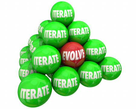 Evolve Vs Iterate Major Change Ball Pyramid 3d Illustration