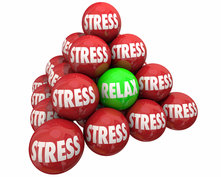 stress ball: Stress Vs Relax Ball Pyramid Burdens Relief 3d Illustration