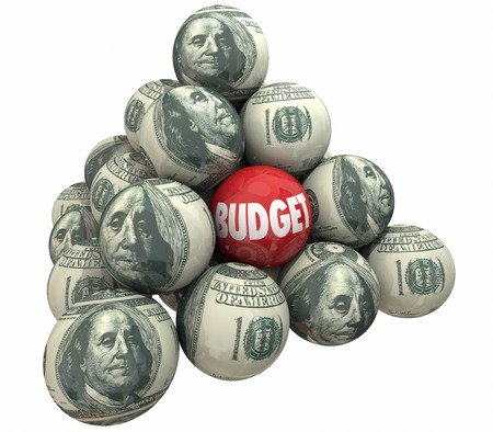 financial advisors: Budget Money Planning Financial Accounting Spending Pyramid 3d Illustration