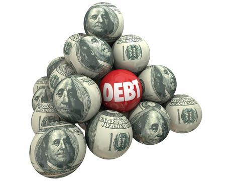 borrower: Debt Money Deficit Owed Loan Borrow Ball Pyramid 3d Illustration