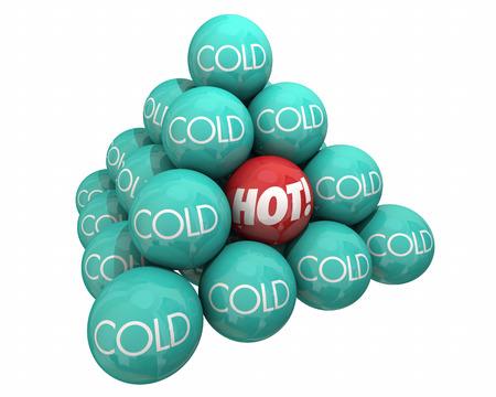 comparing: Hot Vs Cold Balls Pyramid Heat Cool Temperature 3d Illustration