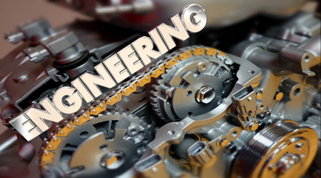 Engineering Word Engine Car Auto Motor 3d Illustration