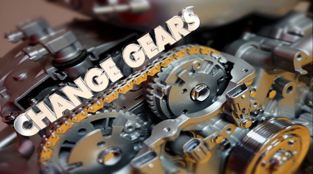 Change Gears Engine Evolve Shift Word 3d Illustration Stock Photo