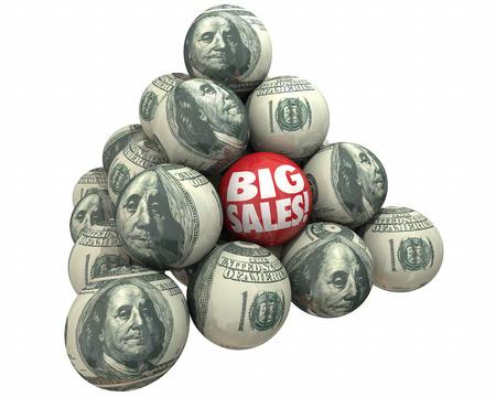 Big Sales Increase Selling Customers Ball Pyramid 3d Illustration