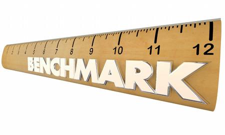 Benchmark Ergebnisse messen Ruler 3d Illustration vergleichen Standard-Bild