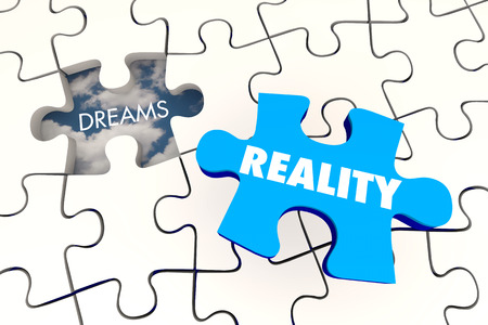 accomplish: Dreams Become Reality Puzzle Piece Final 3d Illustration