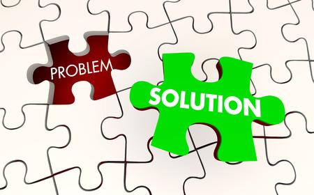 Solución Problema resuelto rompecabezas pieza fija Ilustración 3d