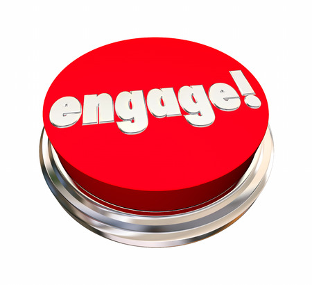 Engage Red Button Activate Interact Communicate 3d Illustration