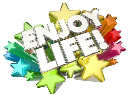 joyous life: Enjoy Life Experience Adventure Happy Living Stars 3d Illustration
