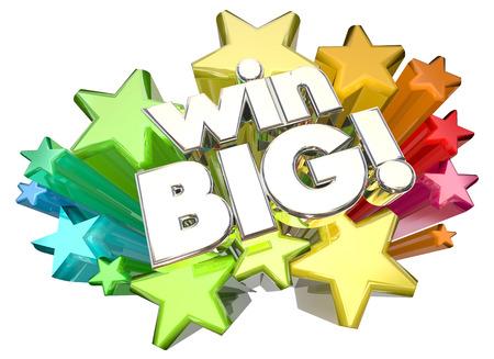 win: Win Big Success Huge Results Stars 3d Illustration