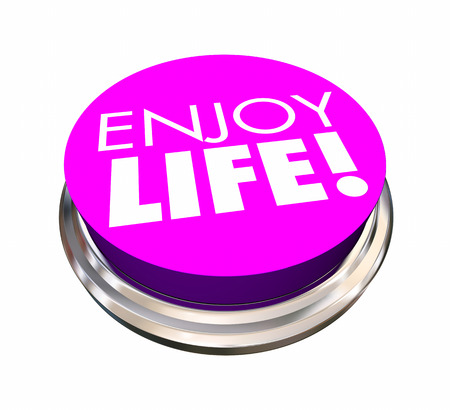 Enjoy Life Button Experience Live Happiness 3d Illustration Stock Photo