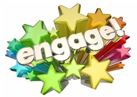 comunicarse: Engage Interact Involucra Comunicar la ilustración de estrellas 3d Foto de archivo