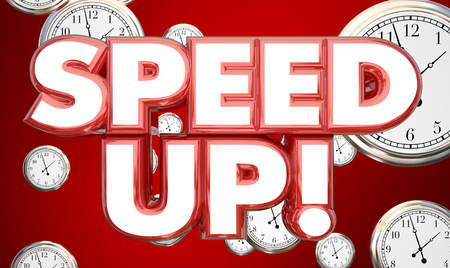 quicker: Speed Up Clocks Time Accelerate Words 3d Illustration Stock Photo