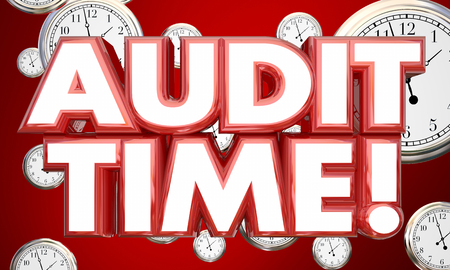 auditing: Audit Time Tax Accounting Review Clocks 3d Illustration