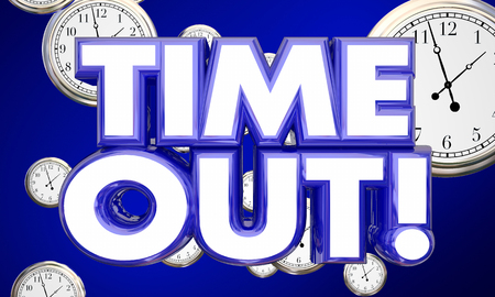 break out: TIme Out Clocks Take Break Pause Rest 3d Illustration