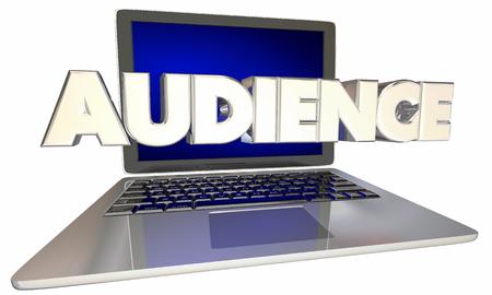 Audience Online Viewers Visitors Computer Laptop 3d Illustration