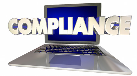 legality: Compliance Laptop Computer Rules Online Laws Regulations 3d Illustration Stock Photo